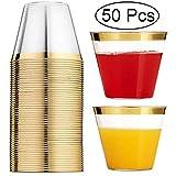 Vasos De Plástico Transparente, Vasos De 50 Piezas del Partido Vaso con Borde De Oro, Vasos Desechables Boda Son Ideales para Cenas Formales Y Eventos Informales,1