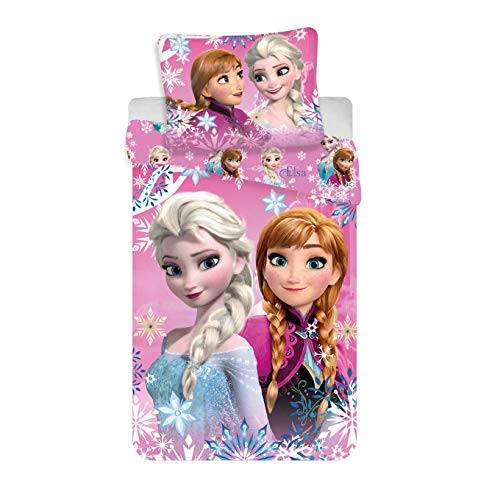 Jerry Fabrics Frozen Cama, 1, Rosa y Blanco, Individual, One Size 140x200 + 70x90 cm