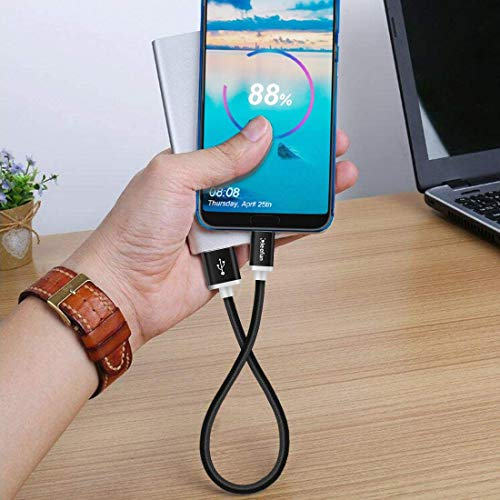 CLEEFUN Typ C Kabel Kurz [0.3M 2-Stück], Nylon USB C Kabel, Schnell Ladekabel und Datenkabel für Samsung Galaxy A41 A51 A71, A40 A50 A70, Note 8 9 10 Plus, S20 S8 S9 S10 Plus S20 Ultra, Sony Xperia XZ