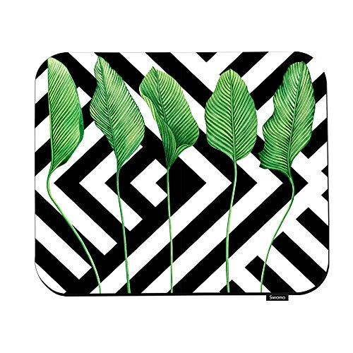 Swono Palm Leaf Mouse Pads Watercolor Painting Vintage Hawaii Style Pattern Tropical Green Leave Mouse Pad for Laptop Funny Non-Slip Gaming Mouse Pad for Office Home Travel Mouse Mat 7.9'X9.5'