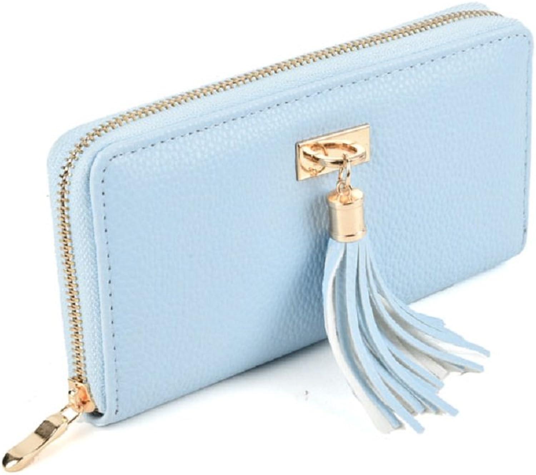 GLITZALL Women's Long PU Leather Card Holder Purse Zipper Utility Clutch Wallet with Tassel