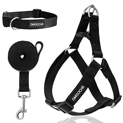 DMISOCHR Dog Harness and Leash Set with Collar - Black Step-in Adjustable No Pull Safe Doggy Harness - Soft Nylon H-Shape Full Body Harness - Easy Walking Control for Small, Medium, Large Dogs