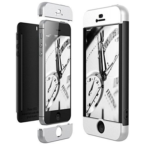 CE-Link Cover per Apple iPhone 5 5S SE 360 Gradi Full Body Protezione, Custodia iPhone 5S Silicone 3 in 1 Antishock e Antiurto, iPhone SE Case - Argento + Nero