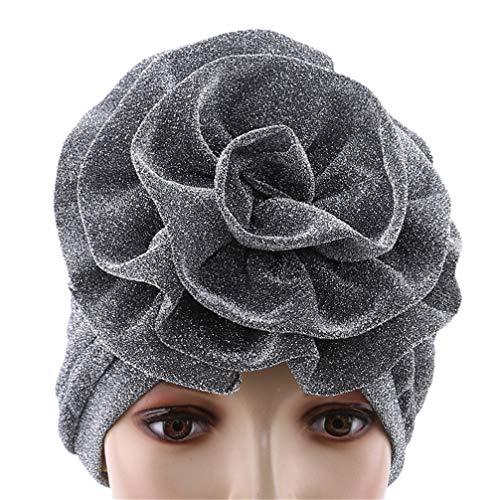 Toporchid Chapeau Pour Femme Fleur Turban Bonnet Bonnet Wrap Cap Bandeau Pour Femme (Couleur Argent)