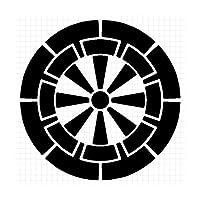 源氏車紋 調度紋 シルエット 家紋ステッカー (白:ホワイト)