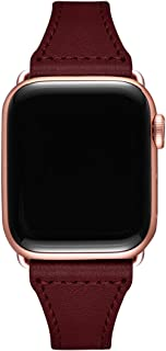 LOVLEOPコンパチブル apple watch バンド 38mm 40mm,本革ルプアッープ交換用細いストラップリストバンド iWatchシリーズに対応 5/4/3/2/1 (38mm 40mm, ワインレッド+ローズゴールドコネクタ)