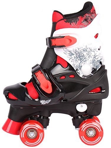 Selltex Kinder Rollschuhe Rollerskates verstellbar 28 29 30 31 32 33 34 35 36 NEU Disco Roller (Rot, 27-31 (S))