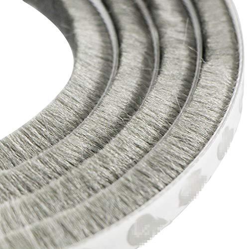 aufodara 5 m a Prueba de Viento de Polvo Puerta Ventana Strip Pegatina de Sellado Cepillo Strip 9 x 23 mm (Gris)
