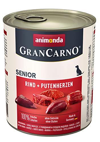 animonda GranCarno Hundefutter Senior, Nassfutter für ältere Hunde ab 7 Jahren, Rind + Putenherzen, 6 x 800 g