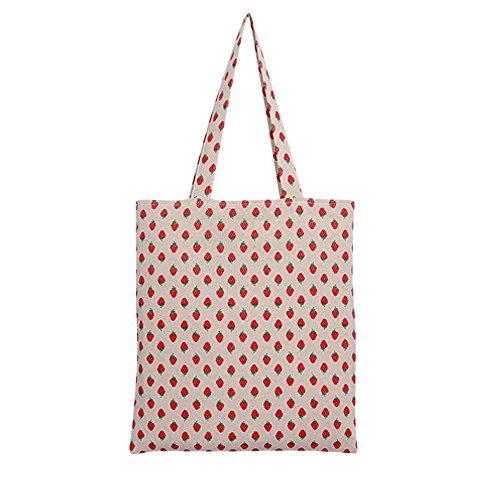 Chezi Womens Strawberry Print Cotton Reusable Foldable Canvas Tote Shopping Bag no