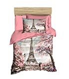 OZINCI 100% Cotton Paris Bedding Set, Eiffel Tower Themed Twin Size Quilt/Duvet Cover Set, Pink Bed Set, No Flat or Fitted Sheet (3 Pieces)
