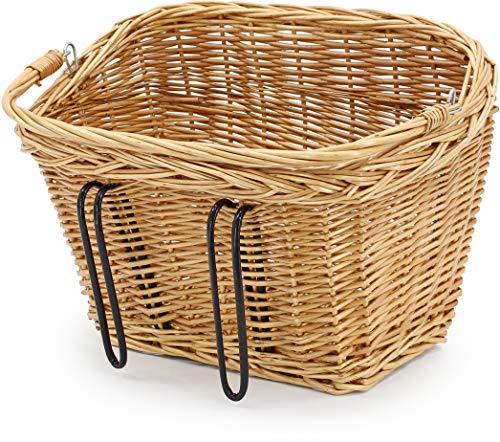 AMIGO Fahrradkorb Vorne 20 Liter - Fahrrad Korb für Einfkaufen oder Schulranzen - Ergonomisch, Modisch und Handgemacht - Hellbraun