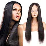 """Huarisi 24"""" Long Straight Wig No Bang Machine Made t Part Wig Human Hair Lace Front Real Hair Wigs Middle Part Brazilian Hair Wigs For Black Women Can Be Dyed"""