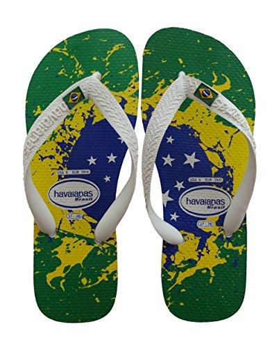 Havaianas Brasil Flag Grün Gelb (Green Yellow) 35/36 BR (37/38 EU), Unisex Erwaschen Strandsandalen Zehnentrenner