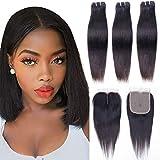 10a Brazilian Hair Bundles with Closure Straight Human Hair Bundles...