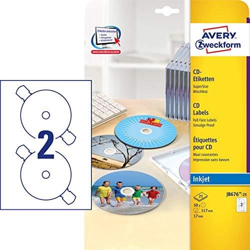 AVERY Zweckform J8676-25 selbstklebende CD-Etiketten (50 blickdichte CD-Aufkleber, Ø 117mm auf A4, SuperSize, Papier matt, bedruckbare Klebeetiketten für alle Inkjet-Drucker) 25 Blatt, weiß