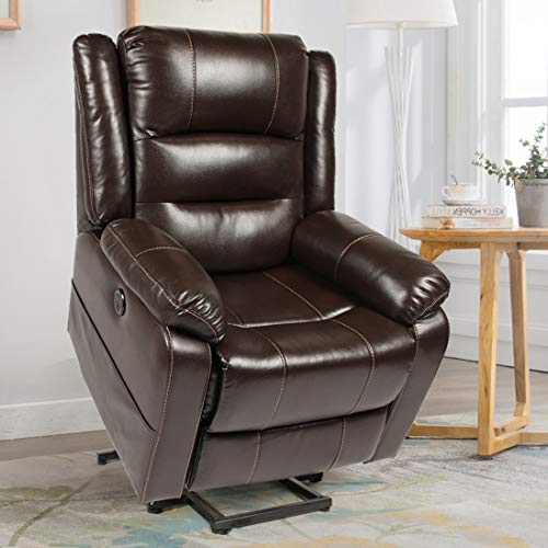 Esright Power Lift Chair Faux Leather Electric Recliner for Elderly, Heated Vibration Massage Sofa with Side Pockets, USB Charge Port & Remote Control, Dark Brown