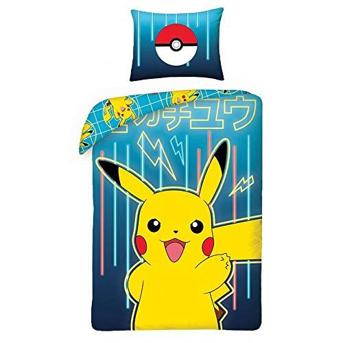 Halantex Parure de lit Pokemon Neon 100% Coton - Housse de Couette Réversible 140x200 cm + Taie d'oreiller