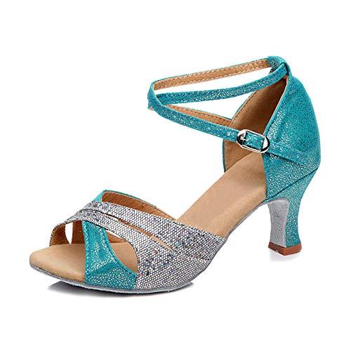 SXSHUN Mujeres Zapatos de Baile Latino al Aire Libre Zapatos Brillantes de Danza con Tacón de 5 CM, Azul Cielo, 36 EU