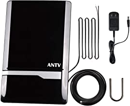 ANTV 50 Mile Radio Antenna, Indoor Amplified FM/AM Antenna for Stereo Radio Audio Signals RF Broadcast Receiver Tuner, 6ft 75Ω FM Coaxial Cable and 6ft AM Cable, Piano Black (2019 Upgrade Version)