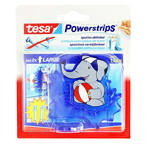 3x Tesa Powerstrips Zahnbürstenhalter Elefant incl. je 2 Powerstrips 5 x 2 cm