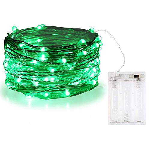 BOLWEO Battery Operated Christmas Tree String Lights,10Ft/3M 30Leds,Waterproof Decor Lights for Indoor Outdoor Home Garden Vases,Green