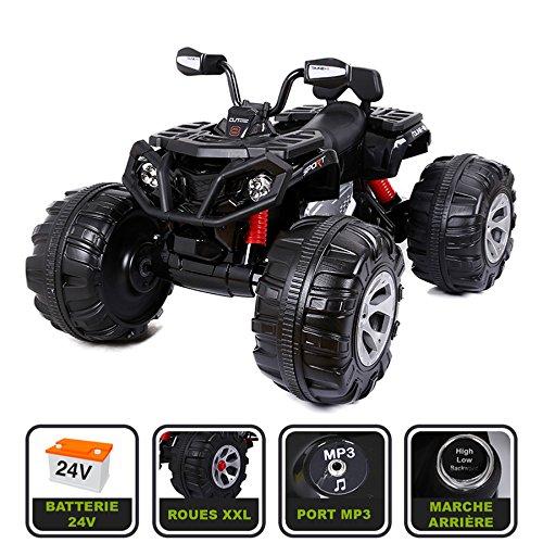 Cristom ® Monster Quad électrique 24V pour enfant Connexion MP3 - MODELE XXL (noir)
