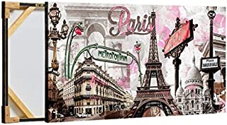 Decor MI Modern Wall Art Pink Paris Eiffel Tower Decor Romantic City Paintings Poster Prints On Canvas Framed for Living Room Bedroom 24X47 inch