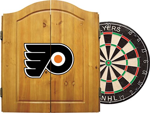 Imperial Officially Licensed NHL Merchandise: Dart Cabinet Set with Steel Tip Bristle Dartboard and Darts, Philadelphia Flyers