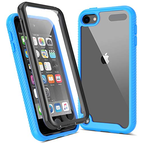 ULAK iPod Touch 7 Hülle, iPod Touch 5/6 Hülle Durchsichtig mit eingebautem Displayschutz Crystal Clear Schutzhülle Transparent Soft TPU Bumper Hard Case Cover für Apple iPod Touch 5/6/7 - Blau