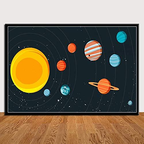 zhuziji Imprimir póster Imagen de la Pared Planetas Sistema Solar Galaxia Universo En Lienzo Regalo REPRODUCCIÓN DE Arte Decoración Moderna del hogar 50x70cm(Sin Marco)
