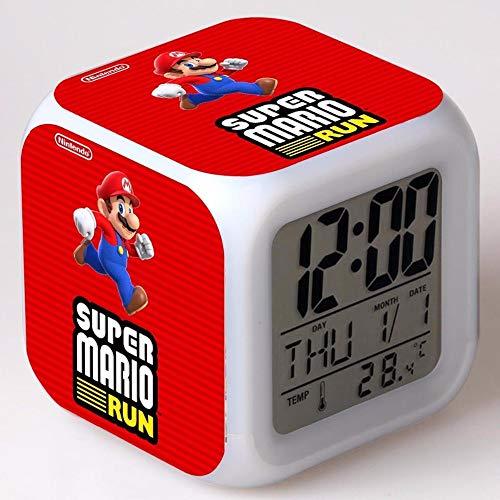 Reloj Super Mario para niños 2 Unids / Lote Juego De Moda Reloj Super Mario Reloj De Escritorio Electrónico Reloj Despertador Digital Reloj para Niños Dormitorio