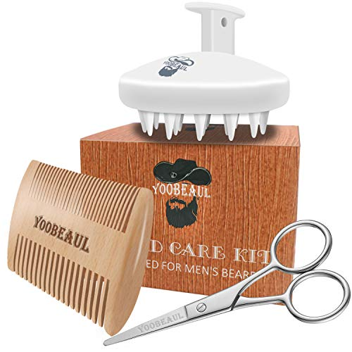 Beard Comb Beard Brush Set for Men - Natural Silicone Resin Brush and Dual Action Pear Wood Comb & Beard Scissors, Promote Beard Growth - Great for Grooming/Washing/ Massaging Beards and Mustaches
