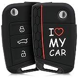 kwmobile Funda para Llave de 3 Botones para Coche VW Golf 7 MK7 - Carcasa Protectora Suave de Silicona - Case de Mando de Auto con diseño I Love...