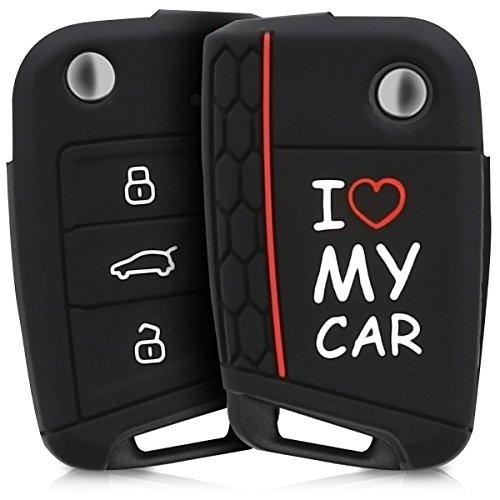 kwmobile Accessoire clé de Voiture Compatible avec VW Golf 7 MK7 3-Bouton - Coque de Protection étui Souple en Silicone - Blanc-Rouge-Noir