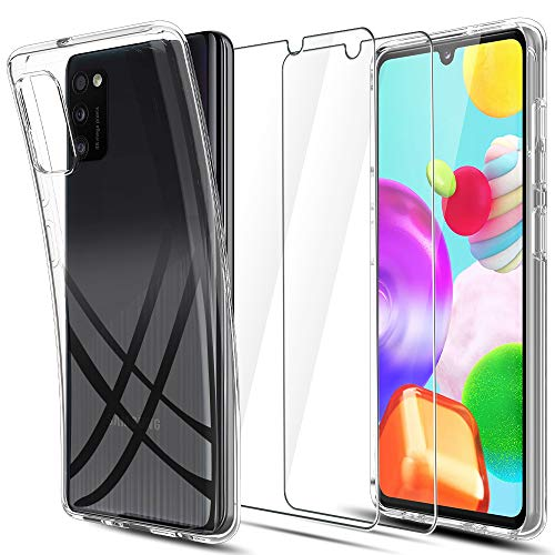 LK Kompatibel mit Samsung Galaxy A41 Hülle mit 2 Stück Bildschirmschutz Schutzfolie, Klar Schutzhülle Transparent TPU Silikon Handyhülle Durchsichtige Hülle Cover, Crystal Clear