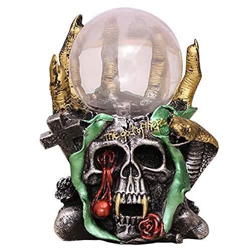 Fikujap Lámpara de Bola del Plasma del cráneo, luz de Noche Sensible al Tacto 3D, artesanía Retro de Resina Esqueleto, para la lámpara de Noche de la habitación Creativa de los niños