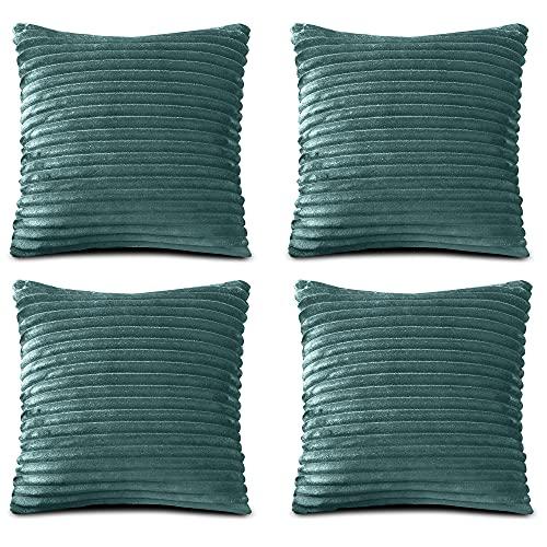 FARFALLAROSSA Fundas de cojín de microfibra con cremallera, verde (paquete de 4) 50 x 50 cm, fundas cuadradas para cojín de sofá, aptas para cualquier época del año, color liso
