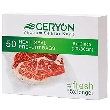 GERYON Vacuum Sealer Bags, Pre-Cut Food Sealer Bags Quart Size 8 x12  for Food Saver & Sous Vide Cooking, 50 Count