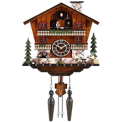 Kintrot Cuckoo Clock Large Handcrafted Black Forest House Chalet Quartz Wall Clock