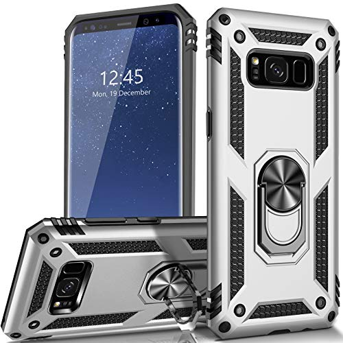 AUPAI for Galaxy S8 Case Heavy Duty 15ft Drop Tested Shockproof Cover with Magnetic Ring Kickstand Protective Phone Case for Samsung Galaxy S8 Silver
