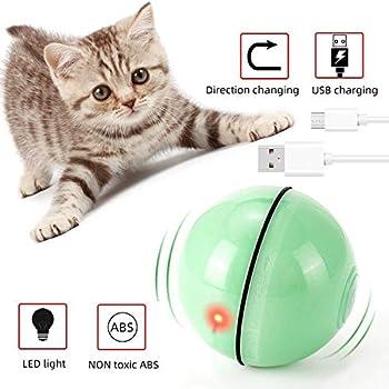 EasyULT Rechargeable Interactif Balle pour Chat, Balle Interactive de Jouets de Chat, Rotative Automatique à 360 Degrés avec Lumière LED, Animaux de Compagnie Chats Chiens Chaser Ball(Vert)