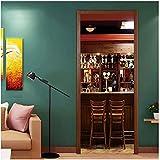Vintage Wine Bar Counter Door Sticker Living Room Bedroom Doors Art Poster Decals PVC DIY Self-Adhesive Waterproof 3D Wallpaper