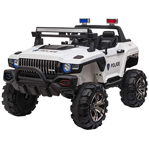 Aosom 12V Kids Electric 2-Seater Ride On Police Car SUV Truck Toy with Parental Remote Control, White