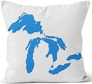 Nine City Map of Great Lakes Home Decorative Throw Pillow Cover,HD Printing Square Pillow case,36