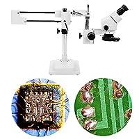 【クリスマスギフト】1080P LCDデジタル顕微鏡、3.5X-90X双眼ステレオズーム顕微鏡、リングランプ付きのデュアルアームスタンド、子供用、ラボ用、学校用(我ら)
