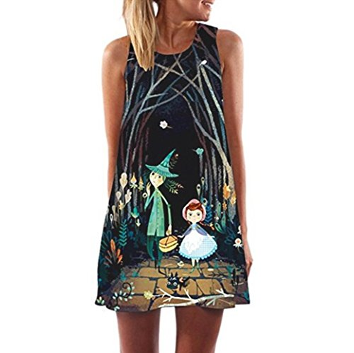 Vintage Boho Women Mini Dress Floral Printing Beach Sundress Summer Sleeveless Short Dress (L, Black)