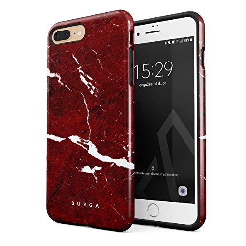 BURGA BURGA Hülle Kompatibel mit iPhone 7 Plus / 8 Plus - Iconic Rubin Rot Marmor Muster Ruby Red Marble Mädchen Robustes Stoßfestes Doppellagiges Hardcase + Silikon Handyhülle Case Cover