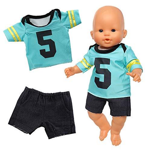 Miunana Puppenkleidung Outfits für Baby Puppen, Fußball Sportanzug Kleidung für 35-40 cm Puppen (Blau)