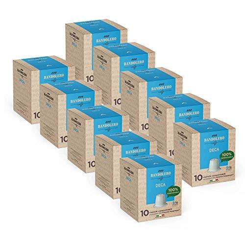 BANDOLERO 100% Kompostierbar Made in Italy, 100 Nespresso-kompatible Kapseln, Deca Kaffee aus ökologisch nachhaltigem Anbaue, Unverwechselbares Aroma für die Nespresso-Maschine